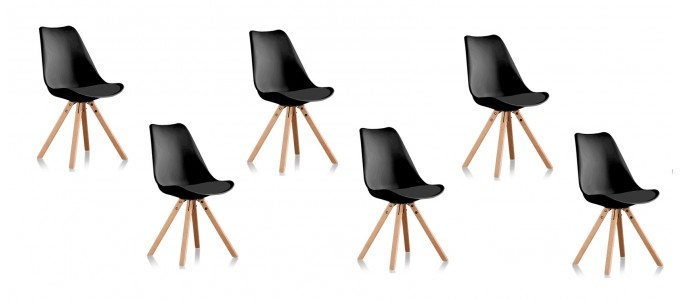 Lot de 6 chaises scandinaves noires - Helsinki