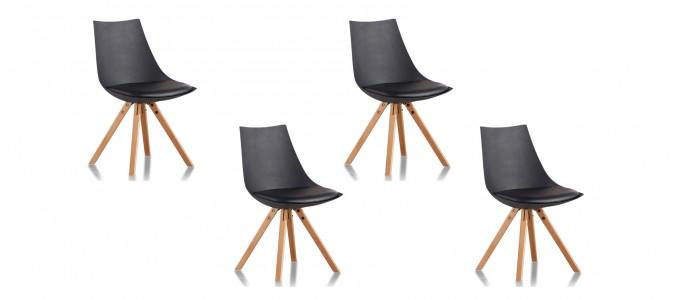 Lot de 4 chaises scandinave noires - Minsk