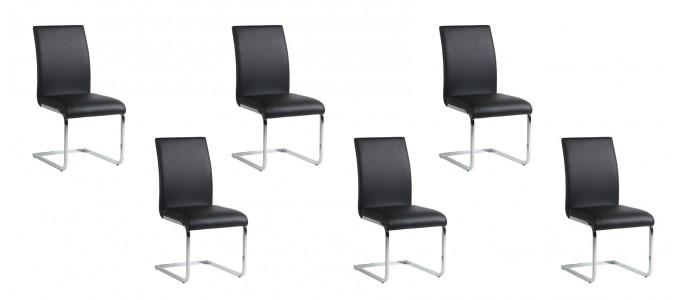 Lot de 6 chaises salle à manger noires - Ottawa