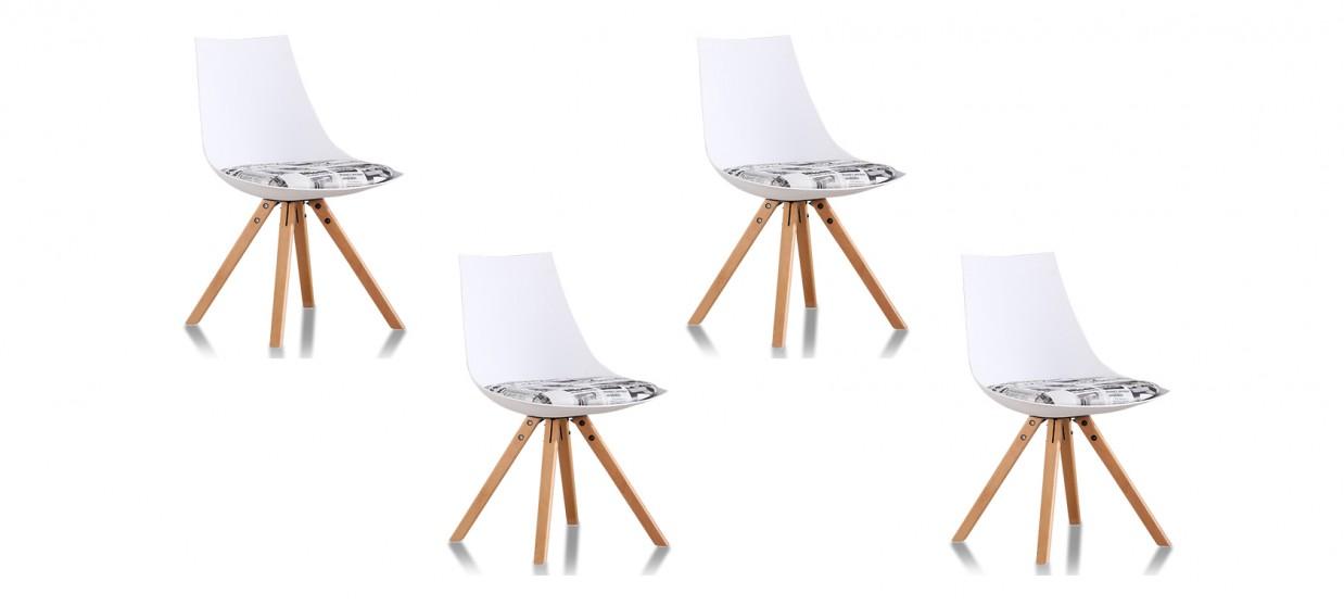 Lot de 4 chaises scandinaves journal - Minsk