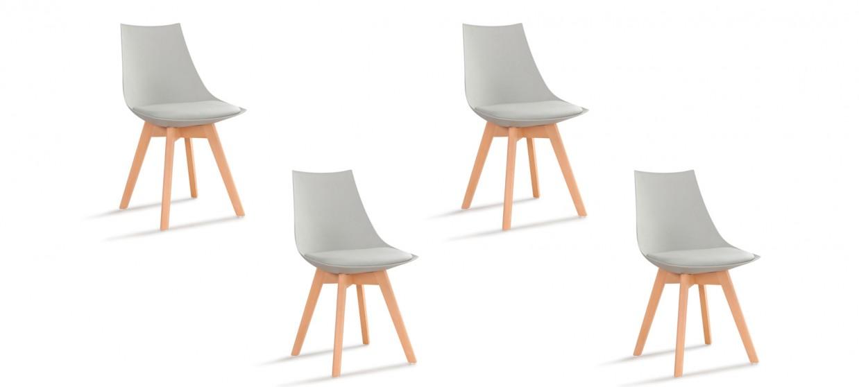 Lot de 4 chaises grises - Prague
