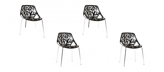 Lot de 4 chaises design noires- Lily