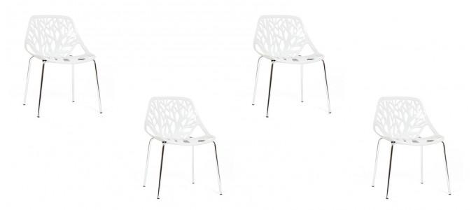 Lot de 4 chaises design blanches - Lily
