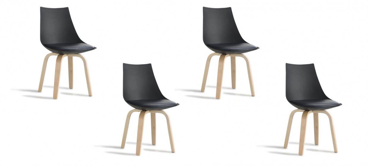 Lot de 4 chaises scandinaves noires - Nicosie