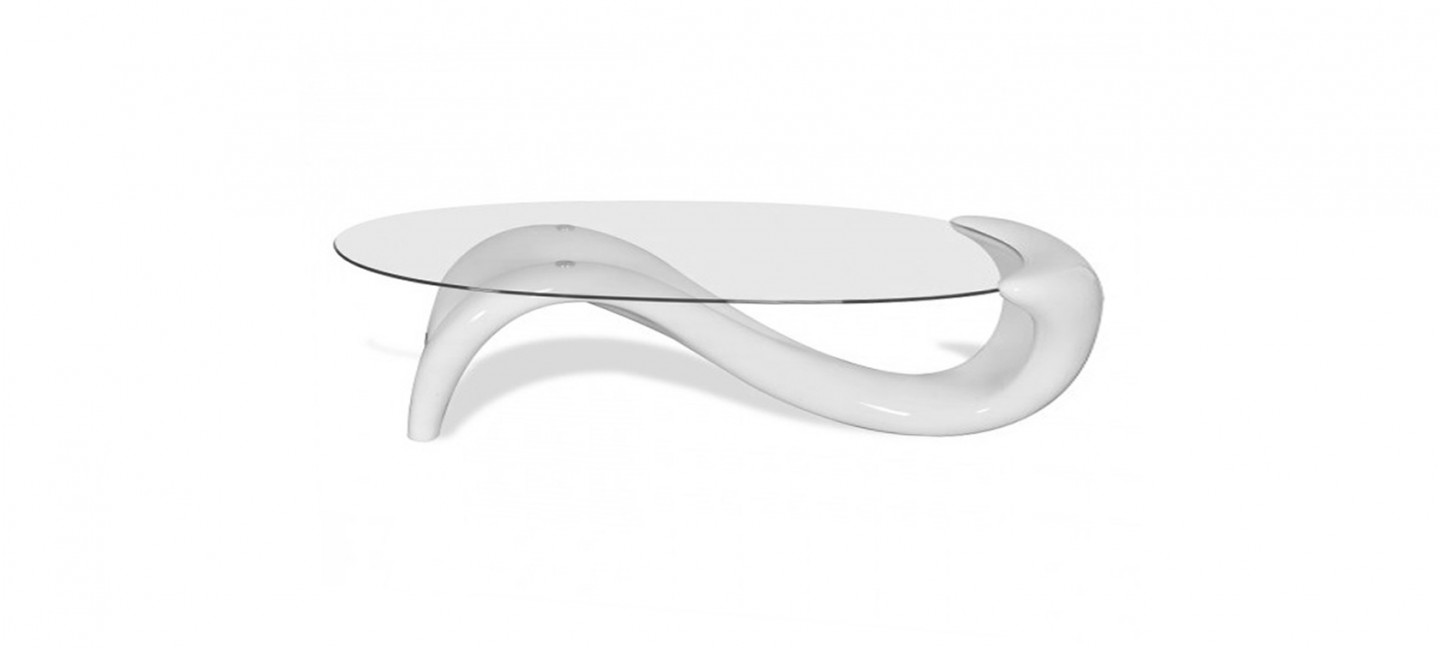Table Salon Ronde Blanche table basse design blanche - wave