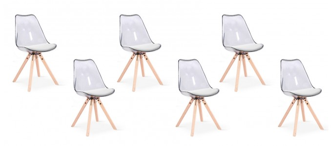 Lot de 6 chaises transparentes polycarbonate - Helsinki