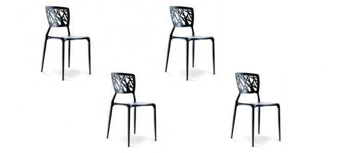 Lot de 4 chaises design noires- Verdi