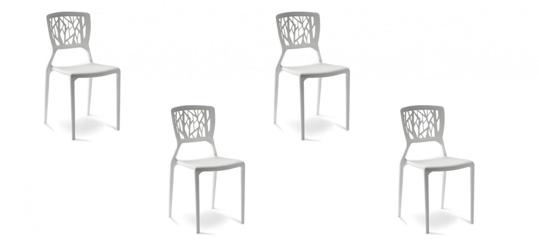 Lot de 4 chaises design blanches Verdi