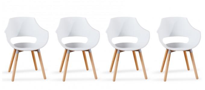 Lot 4 fauteuils scandinaves blancs - Treia