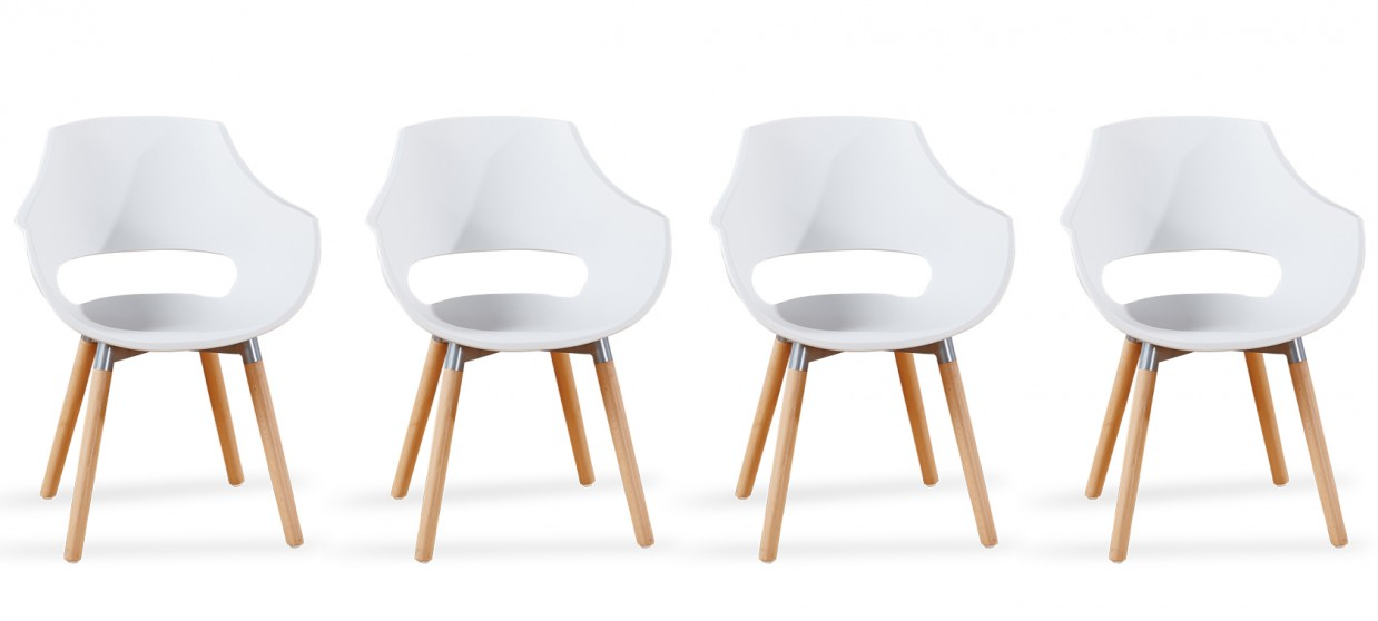 Lot 4 fauteuils scandinaves blancs - Treia