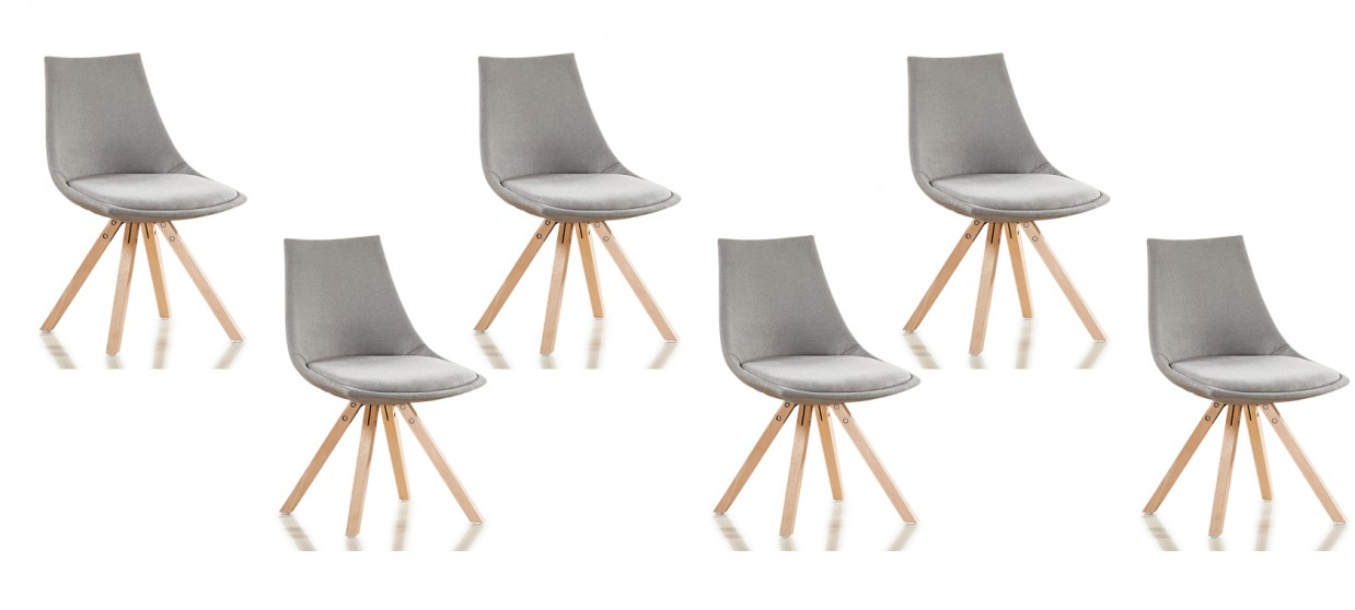 lot de 6 chaises scandinaves tissu gris minsk - Chaise Grise Scandinave