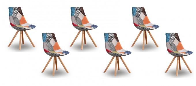 Lot de 6 chaises patchwork - Minsk