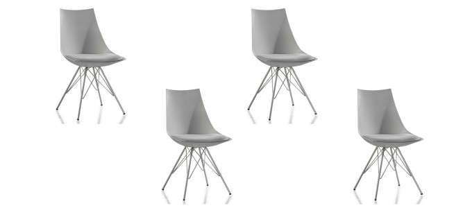 Lot de 4 chaises design grises - Eiffel