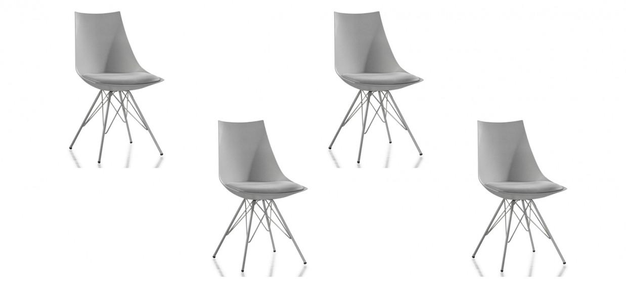 Lot de 4 chaises design grises - Eiffel