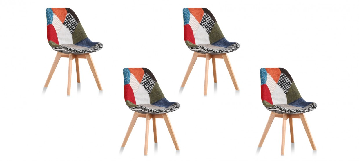 Lot De 4 Chaises Scandinaves Patchwork