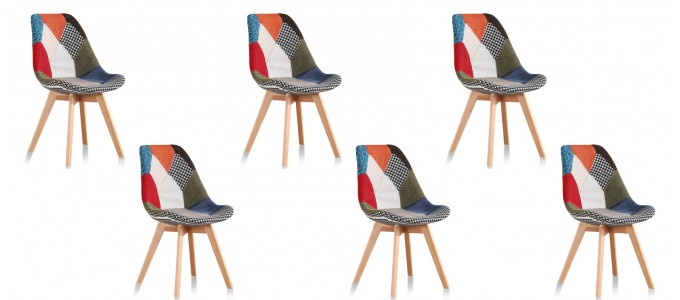 Lot de 6 chaises scandinaves patchwork - Prague