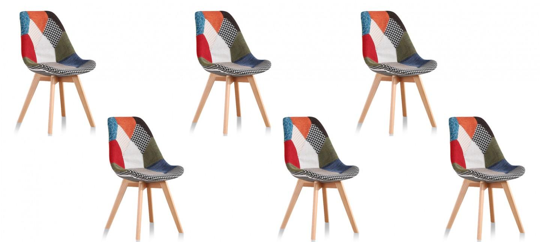 chaussures de sport 86ad4 6ec46 Lot de 6 chaises scandinaves patchwork - Prague