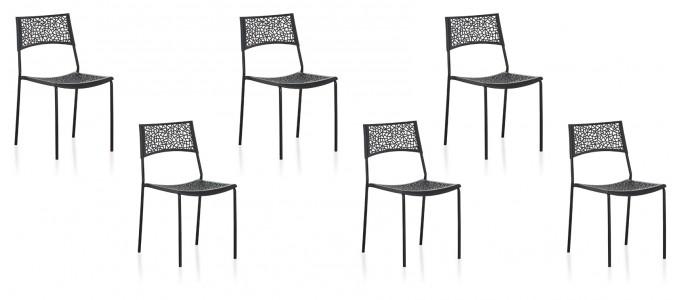 Lot de 6 chaises extérieur noires - Berlin