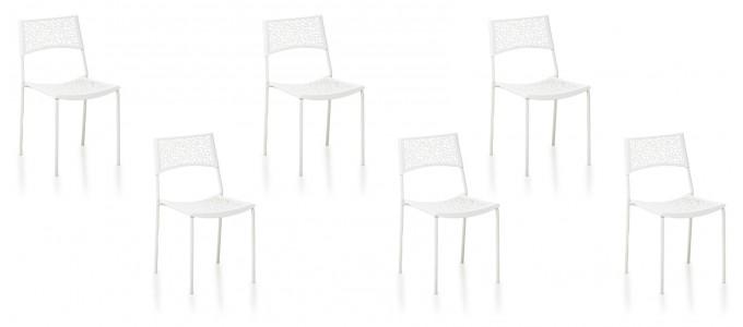Lot de 6 chaises extérieur blanches - Berlin