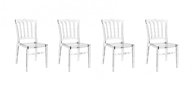 Lot de 4 chaises transparentes - Bonaparte
