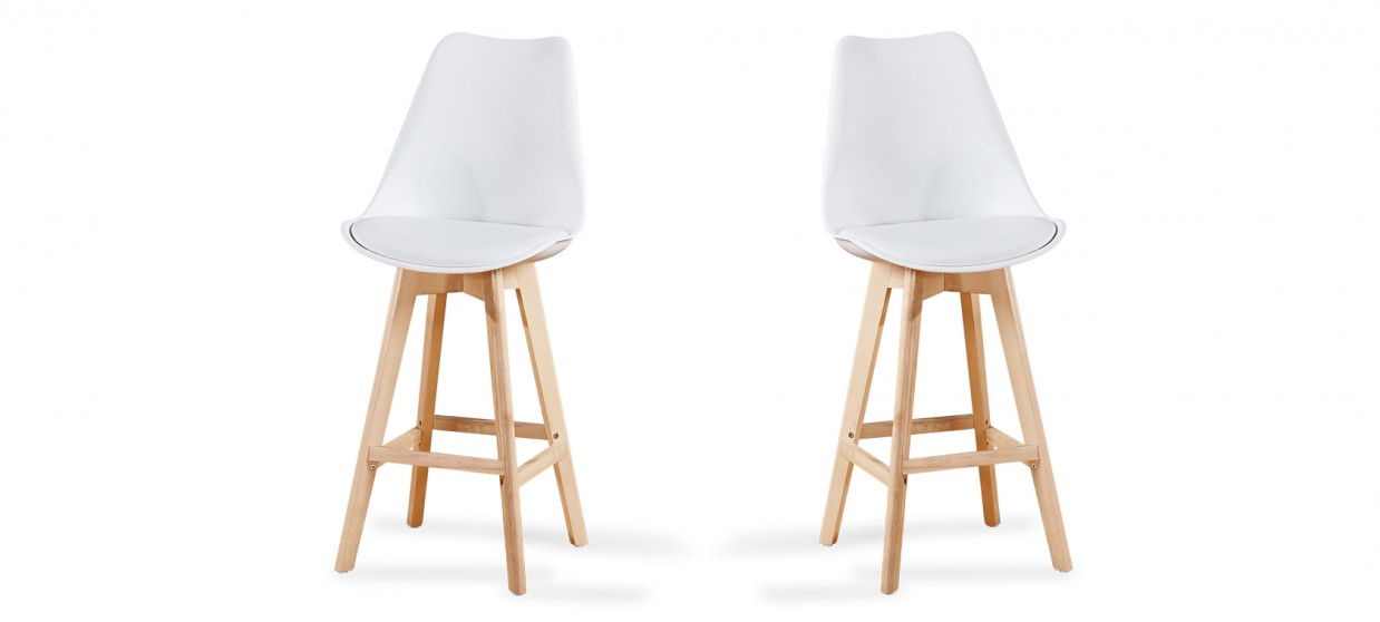 Lot de 2 tabourets de bar scandinave blancs - Gotteborg