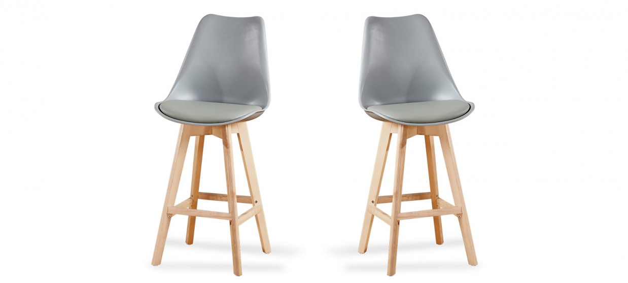 lot de 2 tabourets de bar scandinave gris gotteborg - Lot De 2 Tabouret De Bar