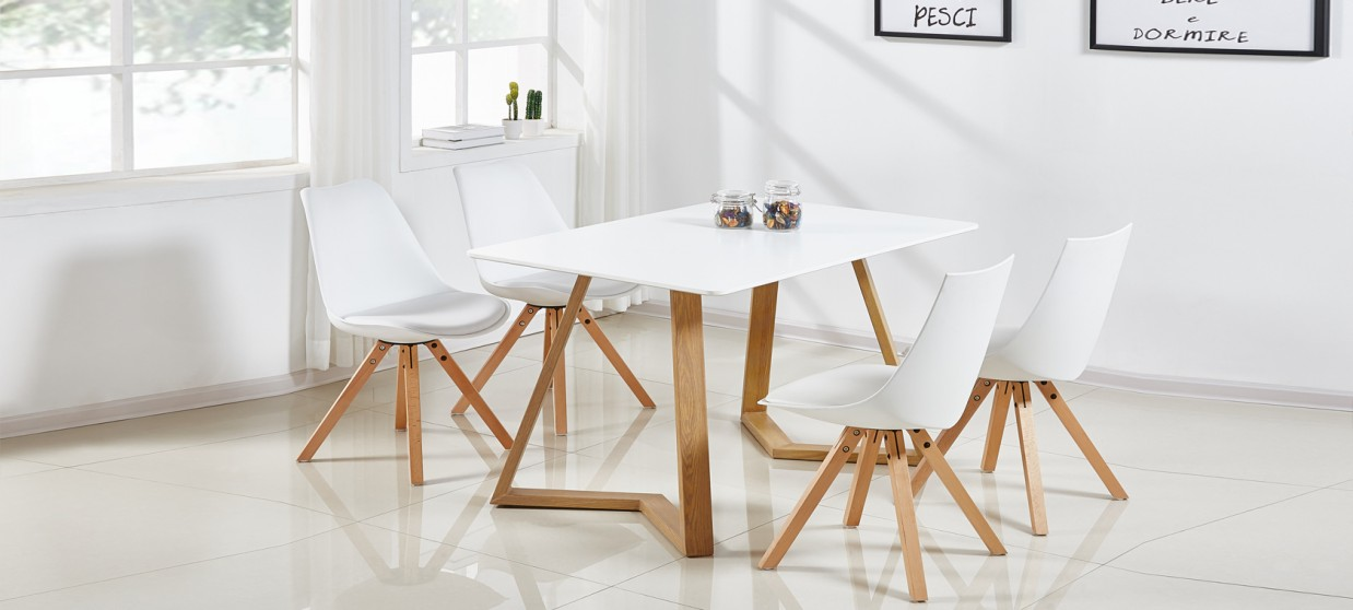 120cm à manger scandinave blanche Table Trevi HE29ID