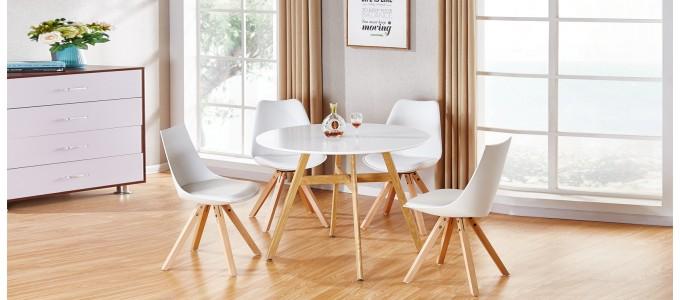 Table à manger scandinave ronde blanche 100cm - Umbria