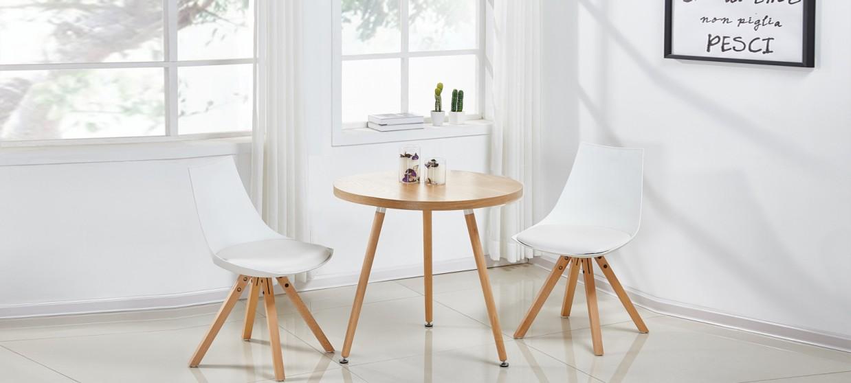 Table à manger scandinave ronde chêne 70cm - Laquila