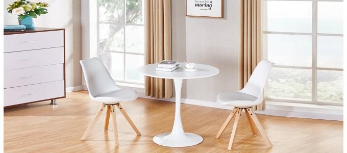 Table à manger design ronde blanche 80cm - Abrezzo