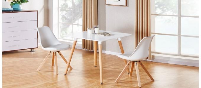 Table à manger scandinave carrée blanche 80cm - Toscana