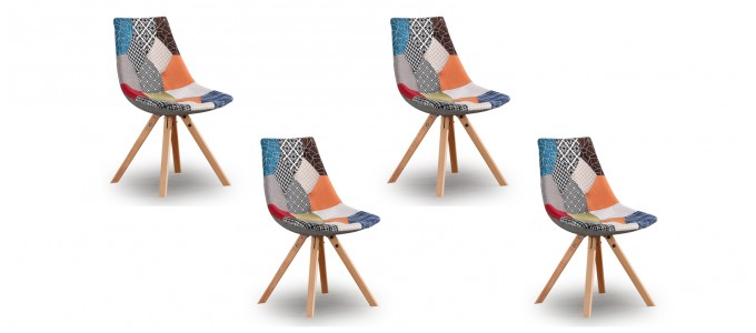 Lot de 4 chaises patchwork - Minsk