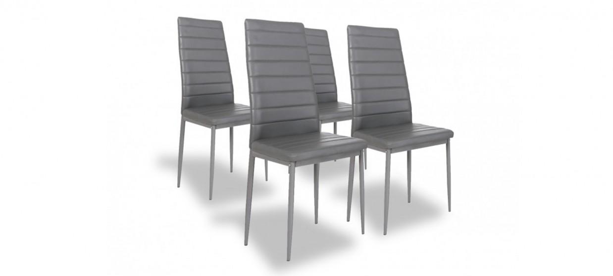 Lot de 4 chaises grises - Lena