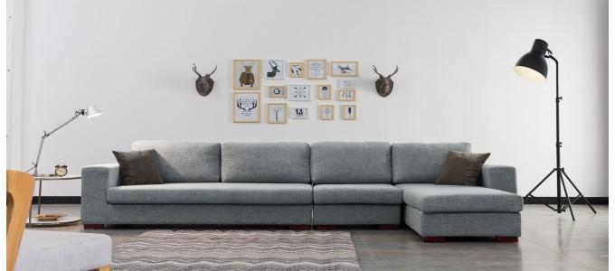 Ensemble canapé d'angle droit et fauteuil en tissu gris - Opéra