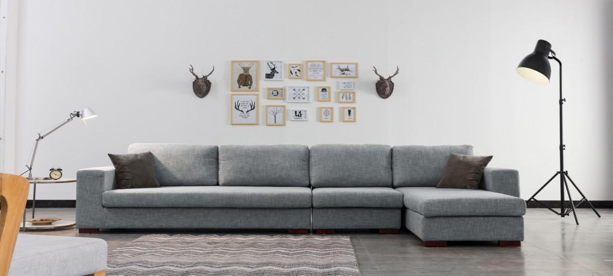 le dernier 246c0 90275 Ensemble canapé d'angle droit et fauteuil en tissu gris - Opéra