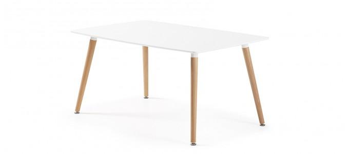 Table à manger rectangulaire design blanche 140cm - Brevik