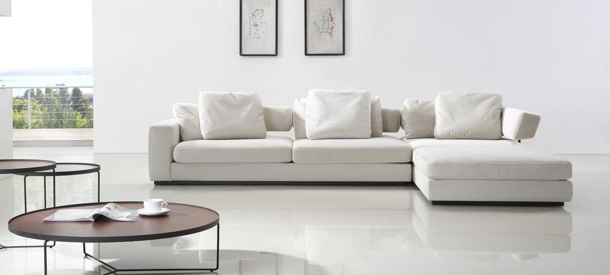 canap dangle 5 places en tissu blanc volga - Canaper D Angle