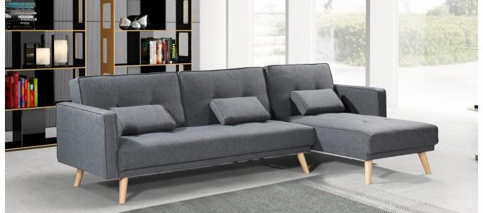 Canapé convertible angle réversible 5 places scandinave gris - Solden