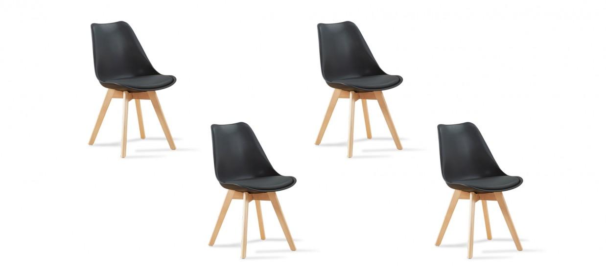 Lot de 4 chaises scandinaves noires - Bjorn