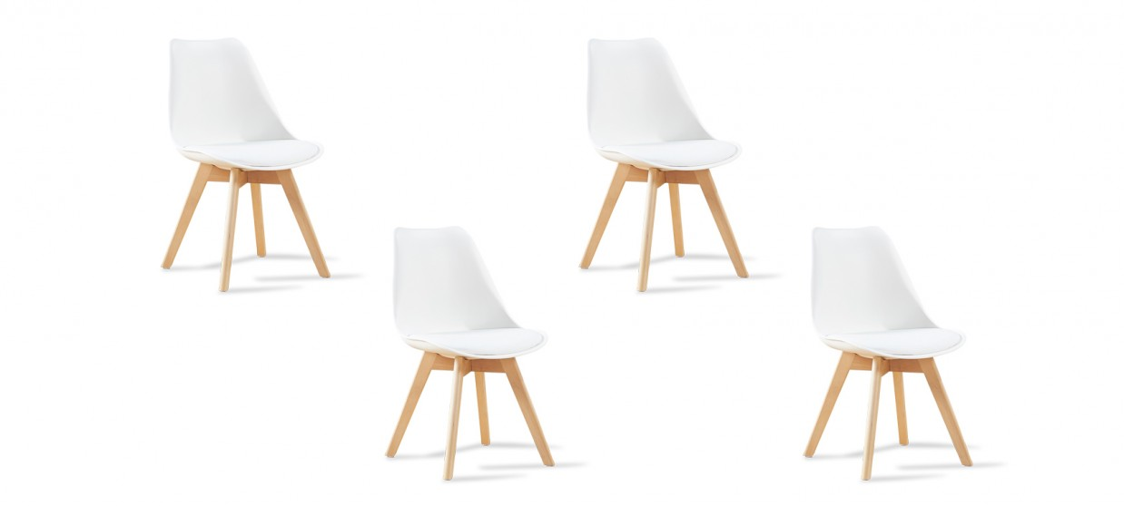 4 de Lot Bjorn blanches chaises scandinaves c43A5RqjL