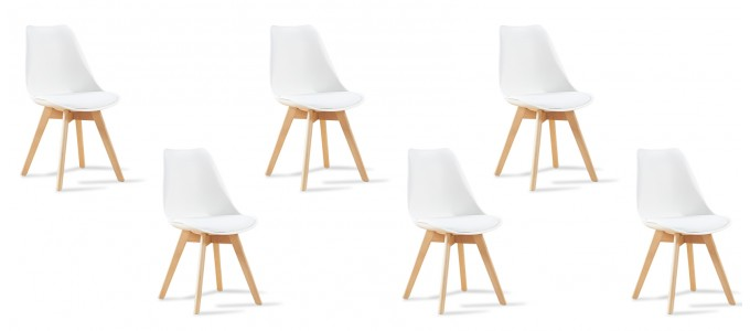 Lot de 6 chaises scandinaves blanches - Bjorn