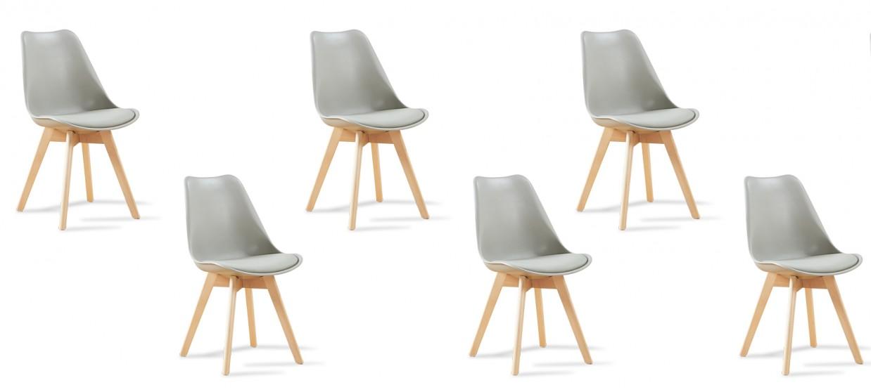 Lot de 6 chaises scandinaves grises - Bjorn