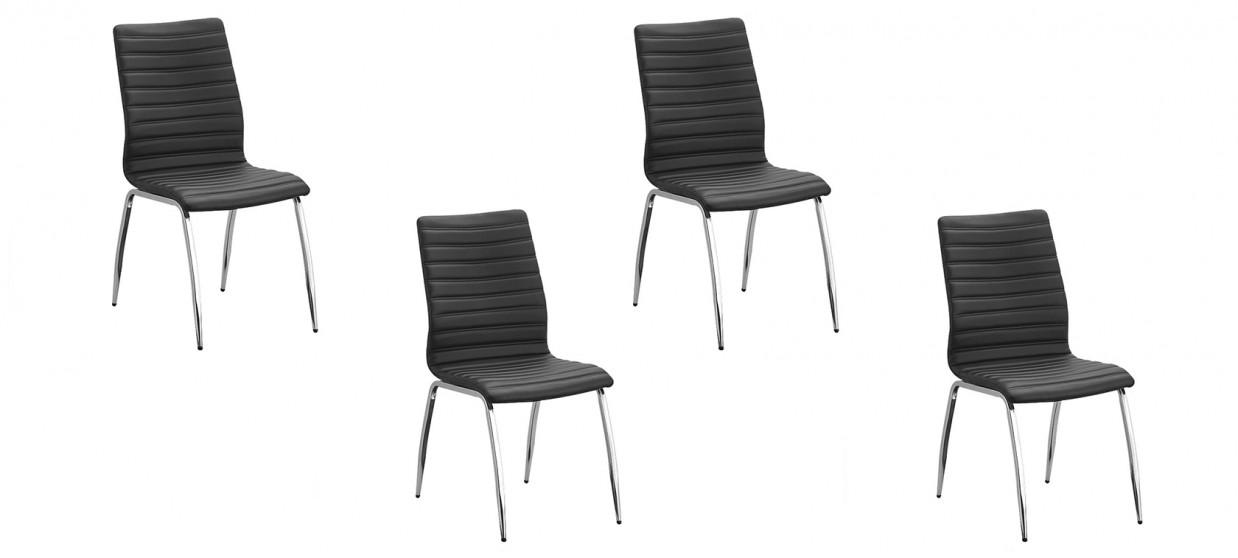 Lot de 4 chaises salle à manger noires - Londres