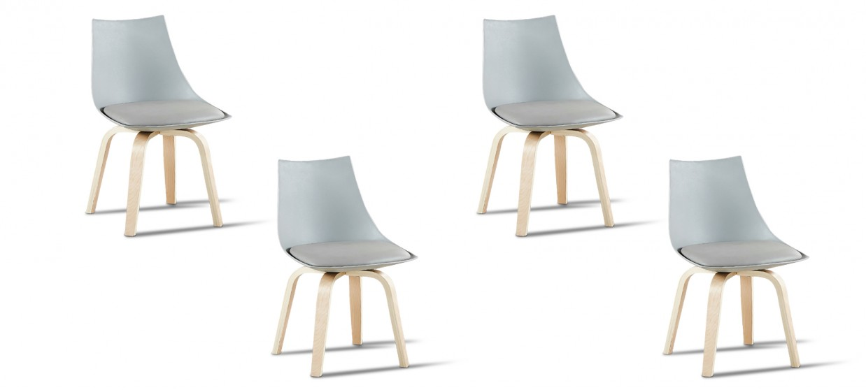 Lot de 4 chaises scandinaves grises - Nicosie