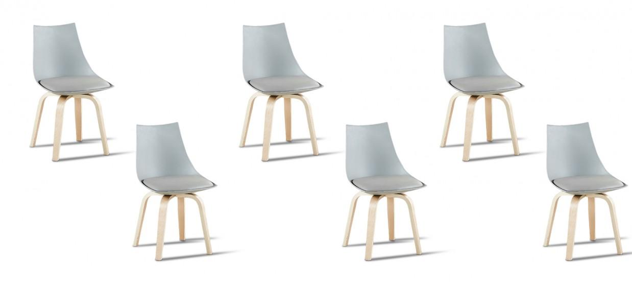 Lot de 6 chaises scandinaves grises - Nicosie