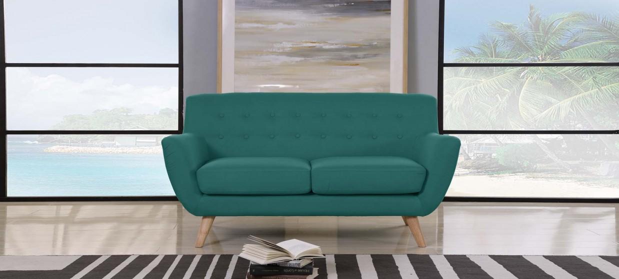 Canapé 2 places scandinave en tissu vert - Nils