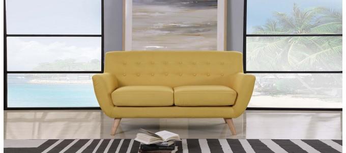 Canapé 2 places scandinave en tissu jaune moutarde - Nils