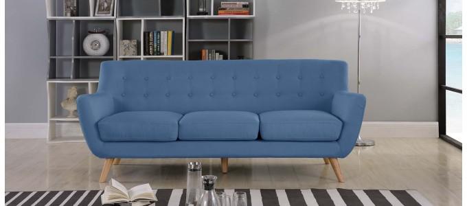 Canapé 3 places scandinave en tissu bleu - Nils