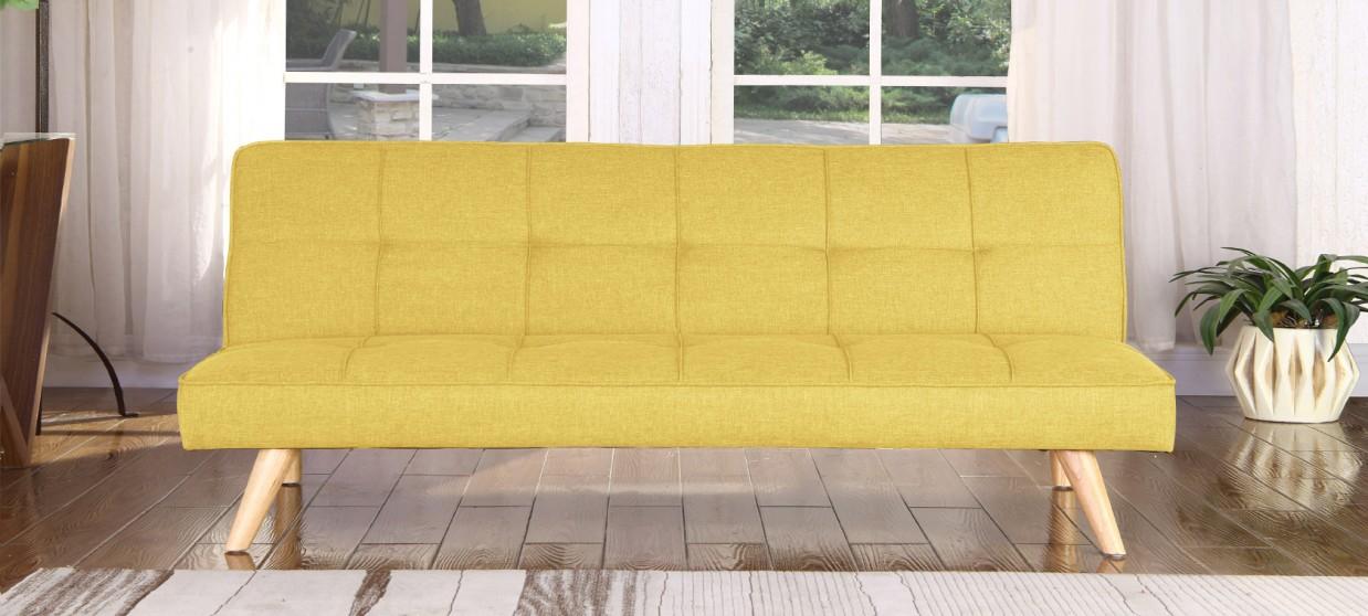 Banquette clic clac 3 places en tissu jaune moutarde - Siljan
