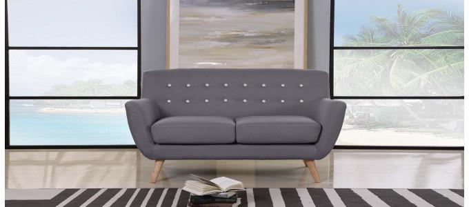 Canapé 2 places scandinave en tissu gris - Nils
